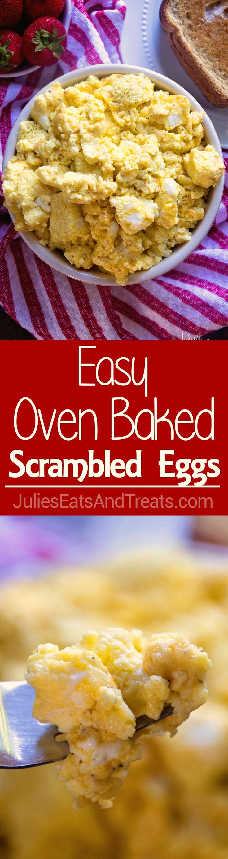 Easy Oven Baked Scrambled Eggs ~ Light, Fluffy, Perfect Scrambled Eggs with Cheese! Baked to Perfection in Your Oven!  via @julieseats