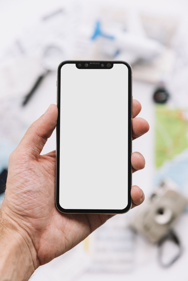 A Person Showing Blank White Screen Display On Smartphone Smartphone Phone Template Floral Border Design