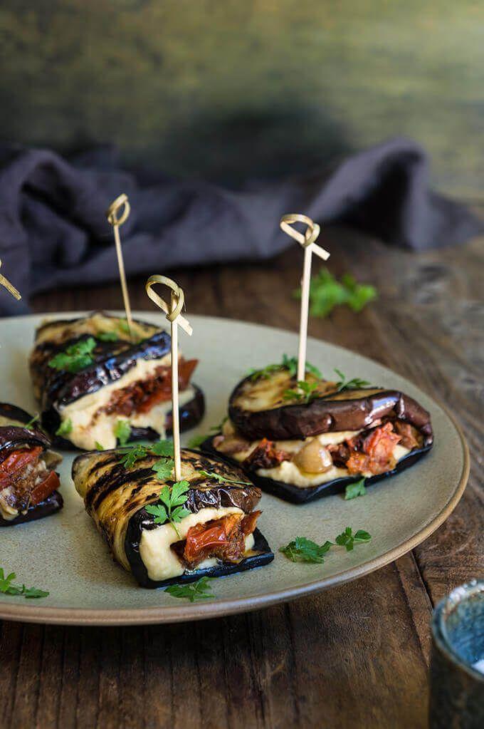 Eggplant hummus wraps with smoky tomato confit - loaded with creamy hummus, roasted smoky tomatoes, and chopped kalamata olives.