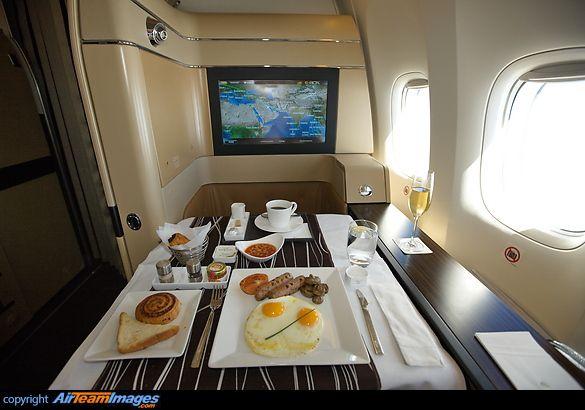 Etihad Airways first class breakfast