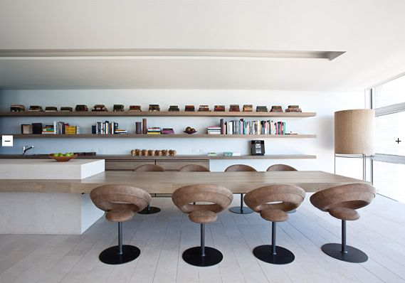 :: INTERIORS :: heart the shelving & cantilevered countertop / dining table ... not so much the chairs #interiors