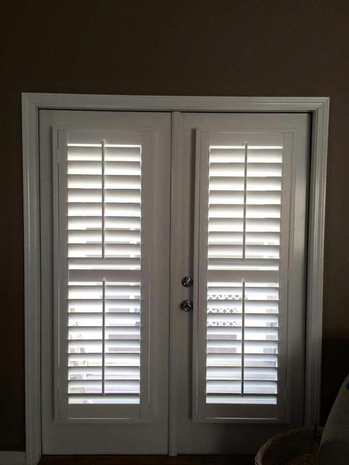 3 1 2 Shutter Installed On French Door Glass French Doors French Doors Interior Blinds For French Doors