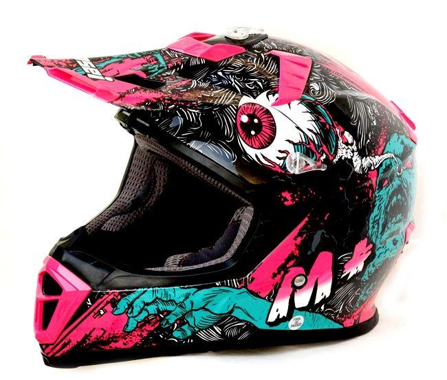MASEI M+ Pink FRANKENSTEIN MONSTER 316 ATV MOTOCROSS MOTORCYCLE KTM DIRTBIKE HELMET