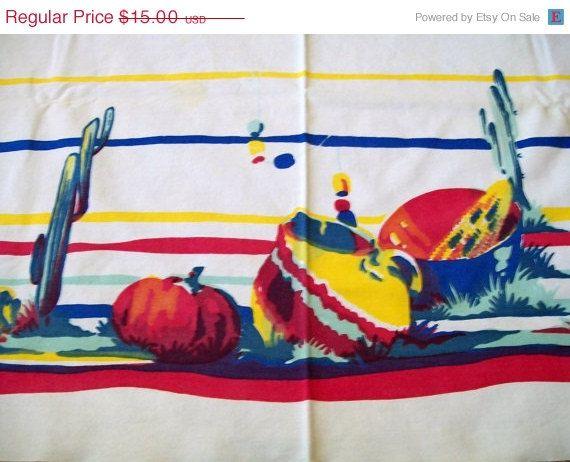 Vintage Southwestern Tablecloth Vintage by VintagePlusCrafts, $12.00