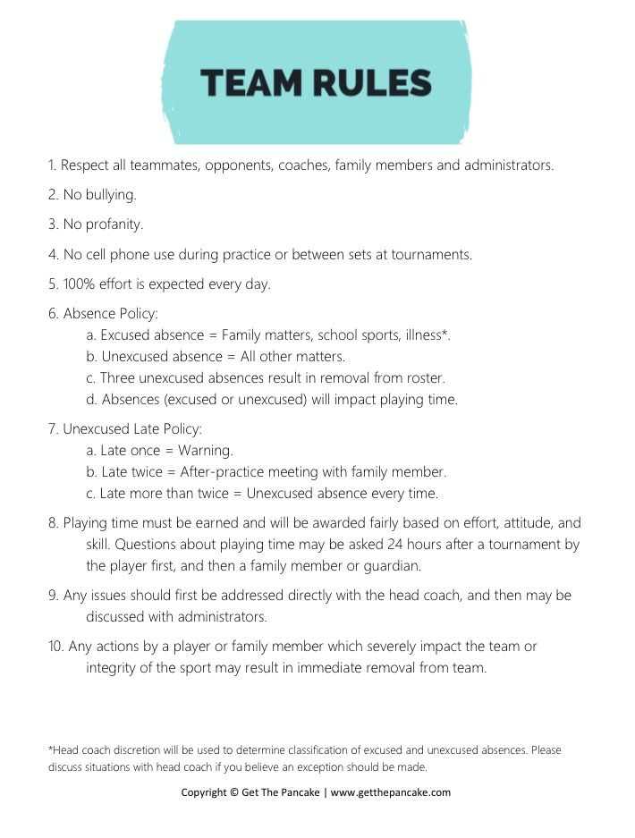 volleyball team rules from get the pancake  free download