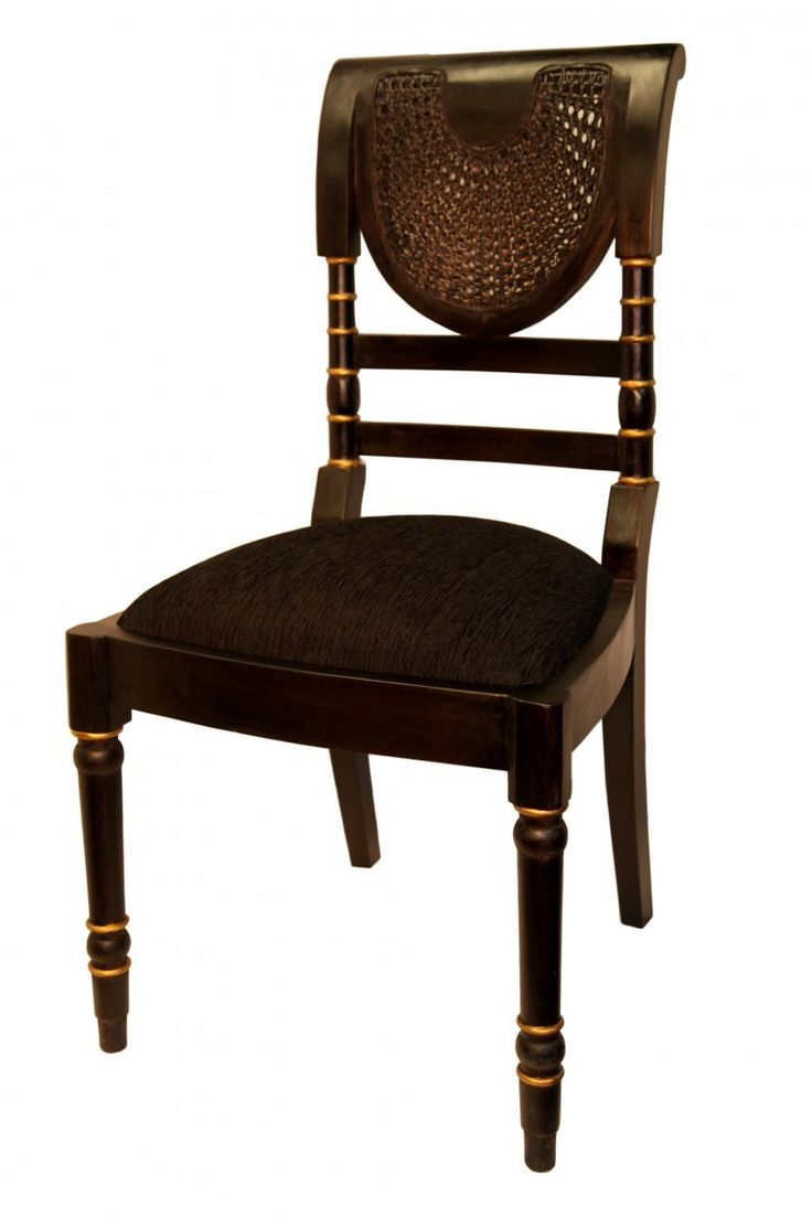 This handsome art deco Indo side chair works great as a stand-alone in a corner or as a desk chair.  Matt black with gold high lights and woven rattan for this unusual Kipas  side chair . Made of Eco friendly farm grown mahogany lumber with cotton cushion.
