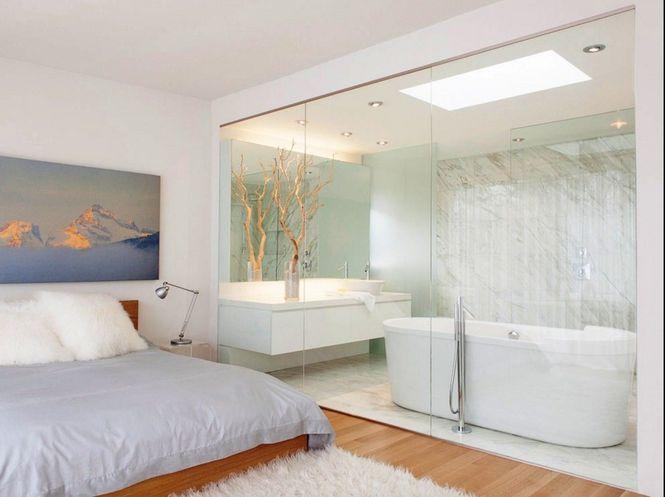 Как разделить пространство между ванной комнатой и спальней - перегородки из стекла