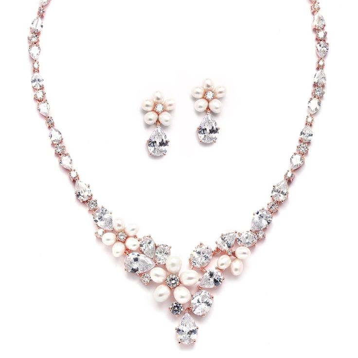 1690 best perfect in pearls wedding jewelry and accessories affordable elegance bridal rose gold freshwater pearl and cz statement wedding jewelry set 11499 junglespirit Gallery