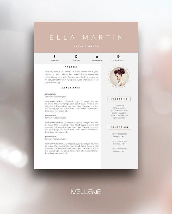 Resume Template 3 Page Cv Cover Letter Instant For Ms Word Ella