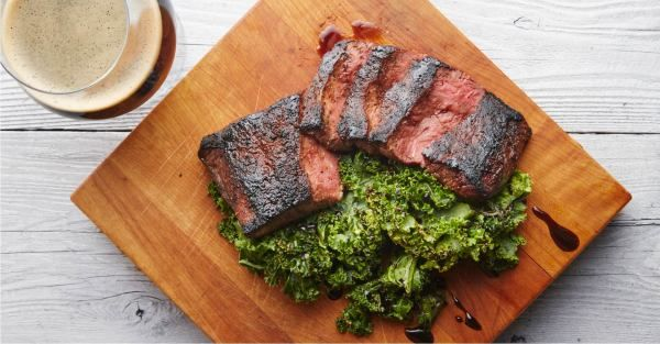Blackened Flat Iron Steak with Charred Kale and Vanilla Porter Gastrique Recipe Primary Image