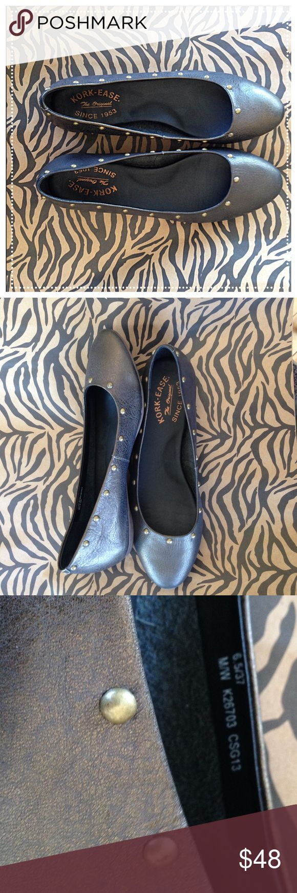 Kork-Ease Gunmetal Leather Round toe flats 6.5/37 Kork-Ease Gunmetal Leather Round toe flats 6.5/37 Never worn swap from one of my clients they are so comfortable! Size 6.5 ladies Kork-Ease Shoes