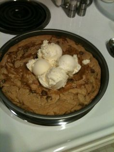 Copycat BJ's Brewhouse Pizookie!!...I made this with white chocolate chips.  It was delish , but I would put 1/4 white sugar and 1/4 brown sugar next time.  It was too sweet in my opinion.