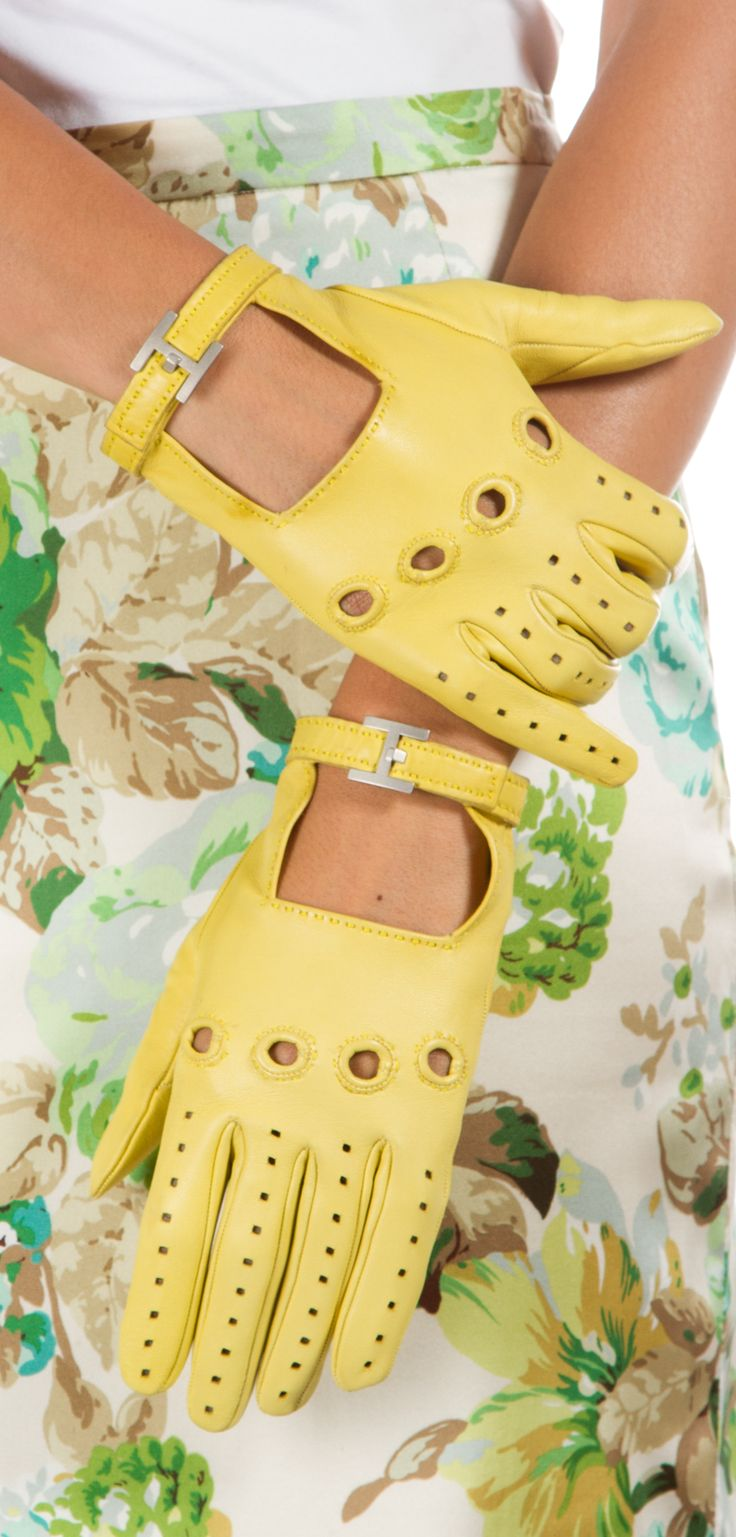 Ladies leather gloves designer - Hermes Gloves Yellow Leather Gloves Worn With A Patterned Skirt