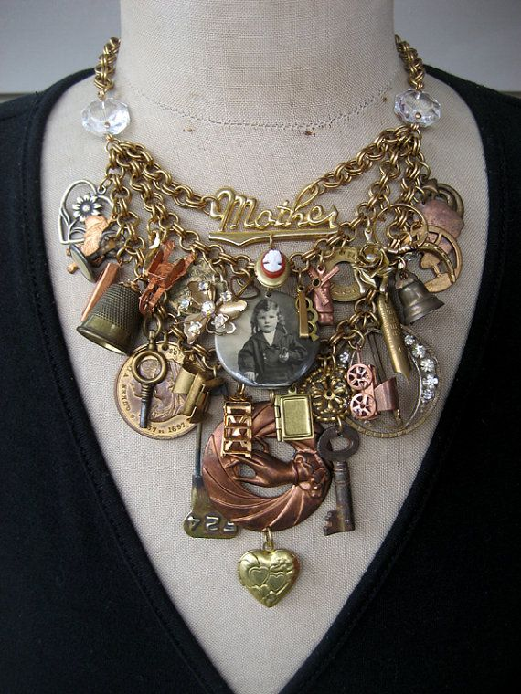 CUSTOM ORDER Steampunk Jewelry, Statement Necklace, Steampunk Necklace, Bib Necklace, Vintage Necklace - Edwardian Woman