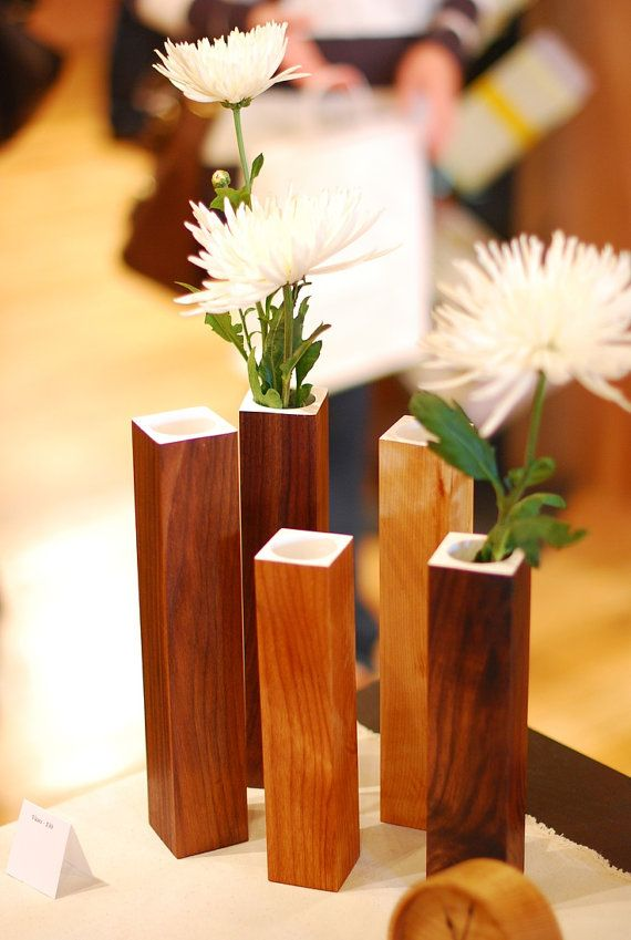 Small Wooden Vases SET OF 5 by LifeIsPine on Etsy, $19.95