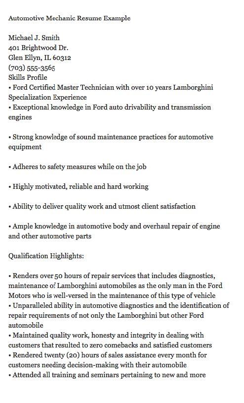 automobile mechanic cover letter
