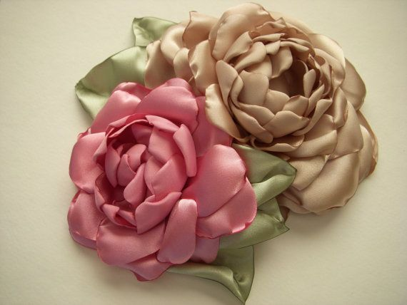 Large Fabric Rose Pin - Dusty Pink and Champagne - Brooch, Pin, Lapel, Sash, Waist, Simple, Roses, Fabric Roses