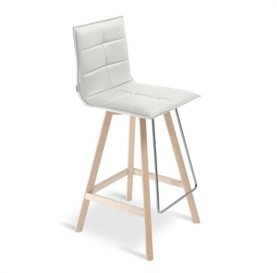 Sgabello in legno con sedile e schienale in ecopelle