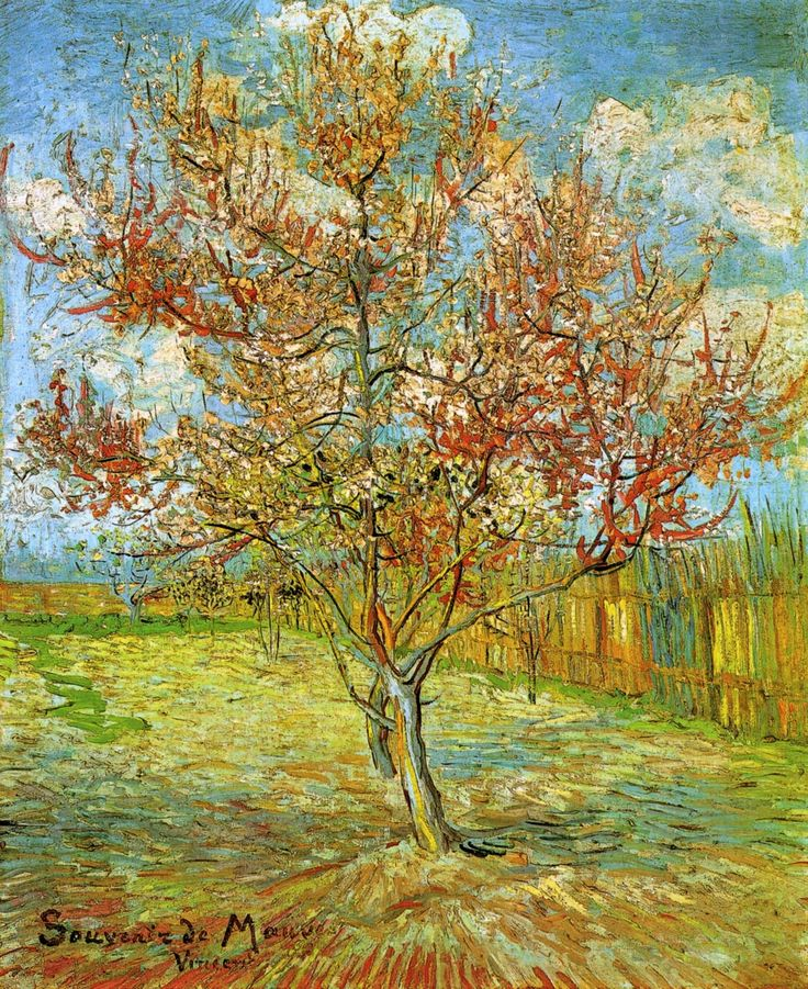 van gogh paintings | Vincent Van Gogh Paintings, Pink Peach Tree in Blossom Reminiscence of ...