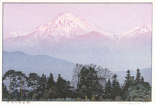 Toshi Yoshida (1911-1995). Early spring in Azumino.  Original woodblock print, Japan, 20th C. #japanese #landscape #art