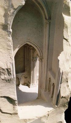 Gothic Stone 2003 limestone, 35 X 35 X 173cm     Sculpture in the Garden, University of Leicester botanical gardens