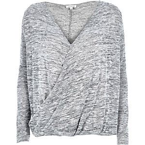 Grey marl wrap front top