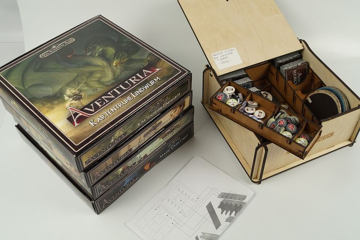 Inserts, wooden boxes and packaging we did for Ulisses Spiele GmbH and their game Aventuria: