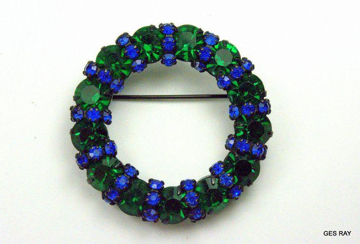 Vintage #WarnerJewelry Wreath Sapphire Blue Emerald Green #Swarovski Crystal Brooch Pin #Warner