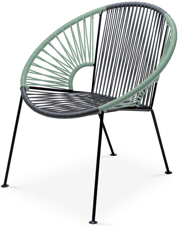 Handcrafted by skilled artisans and certified welders in Mexico, this modern lounge chair is crafted of woven, UV-protected PVC cord in gray and olive green with a powder-coated steel frame. While it's designed for use on the porch or patio, a sleek silhouette and impressive durability also make it a great choice for an indoor sunroom or even a playroom. Furniture > Outdoor Furniture > Outdoor Deck Chairs.