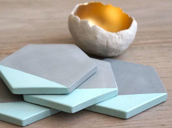 Grey Concrete Blue Painted Hexagon Coasters. Set of 4