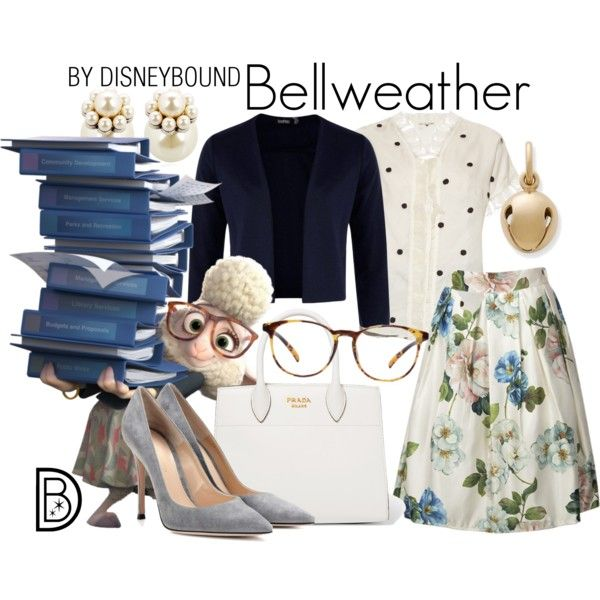 Bellweather by leslieakay on Polyvore featuring Jupe By Jackie, Boohoo, Gianvito Rossi, Prada, Mawi, disney, disneybound and disneycharacter