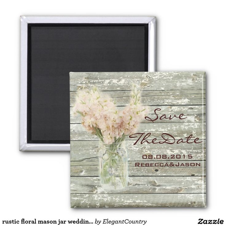 cruise wedding save the date announcement%0A rustic floral mason jar wedding save the date   inch square magnet