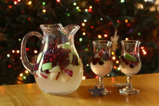 Serve this seasonal sangria with cranberries, apples and white wine at your holiday or Christmas party. Get the recipe from HGTV.