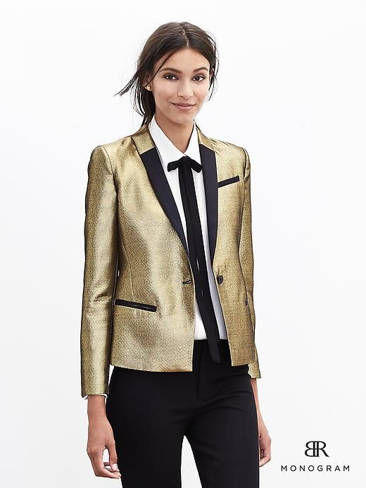 BR Monogram Gold Blazer | Banana Republic