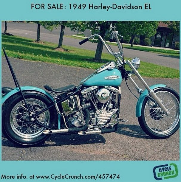 #TBT Check out this #1949 #HarleyDavidson #EL #Panhead #Shovelhead that was listed on our #motorcycle classifieds website recently. What a beauty. It's FOR SALE if you're interested. Check out more info at www.CycleCrunch.com/457474 #pieceofhistory #cyclecrunch #americanhistory #chopper #vtwin #antiquemotorcycle #vintagemotorcycle @harleydavidson
