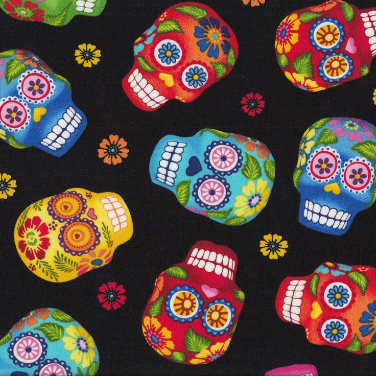 Colourful Sugar Skulls on Black Quilt Fabric - Find a Fabric. Available to purchase in Fat Quarters, Half Metre, 3/4 Metre, 1 Metre and so on.