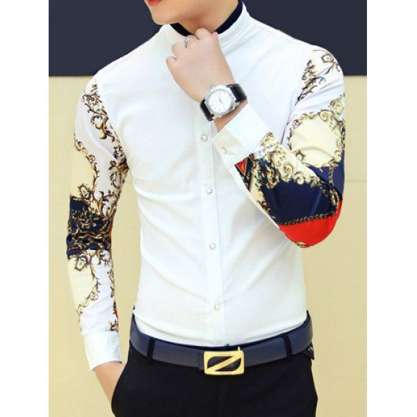 Stylish Personality Stand Collar Slimming Colorful Print Splicing Long Sleeves Men's Shirt, WHITE, M in Shirts | DressLily.com