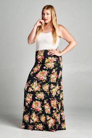 Floral Fantasies Plus Size Maxi Skirt – House of Rockefeller