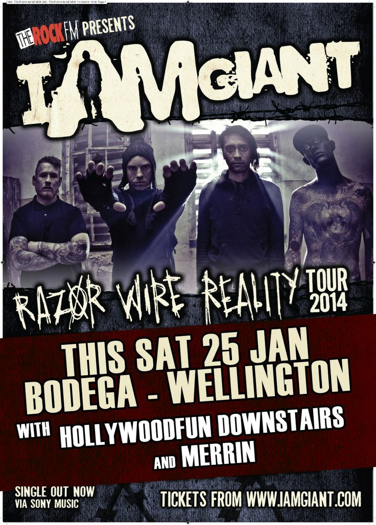 "We scored 2nd Support for the Wellington Leg of I AM GIANT's ""Razor Wire Reality"" Tour at Bar Bodega - STOKED! :) #Rock #BarBodega #Wellington"