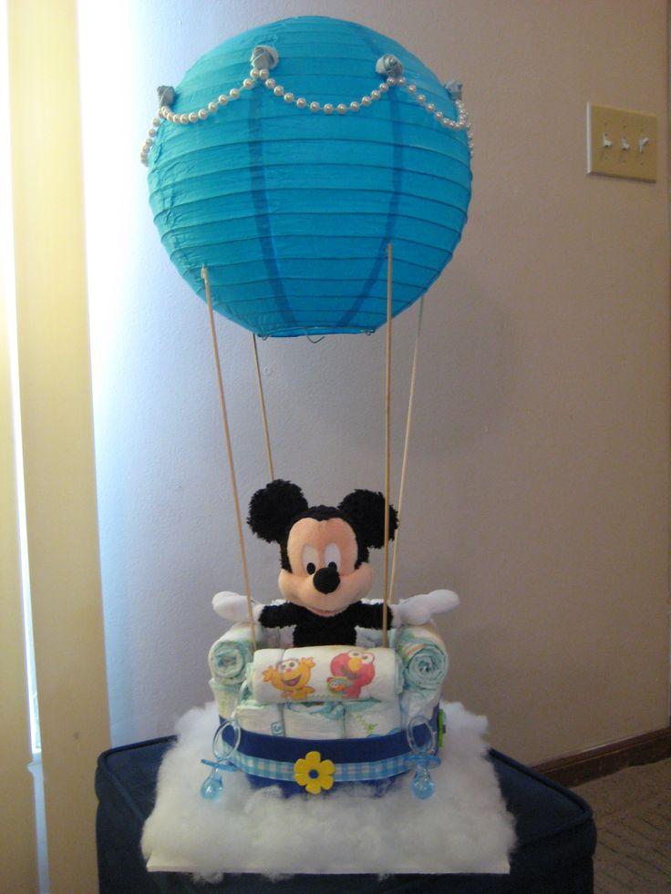 Mickey Mouse Hot Air Balloon Diaper Cake
