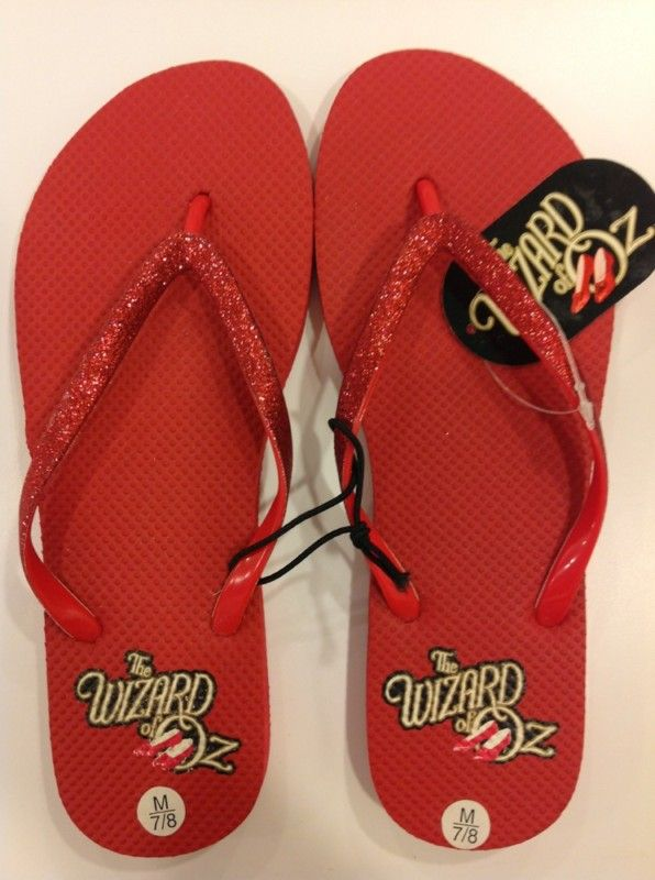 New With Tags Wizard Of Oz Flip Flops Sandals Ruby Red Glitter Size 7/8