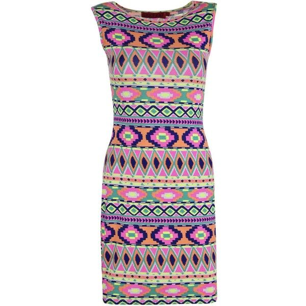 Boohoo Ellie Aztec Bodycon Mini Dress ($12) ❤ liked on Polyvore featuring dresses, cami dress, bodycon dress, bodycon mini dress, cocktail dresses and evening dresses