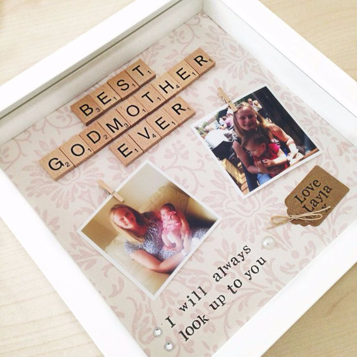 A lovely personalised gift for Godmother of Godfather with two photos The hand stamped letters read I will always look up to you This would make a