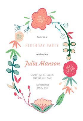 Spring Flowers Printable Invitation Template Customize Add Text And Photos Print Or Download For Free