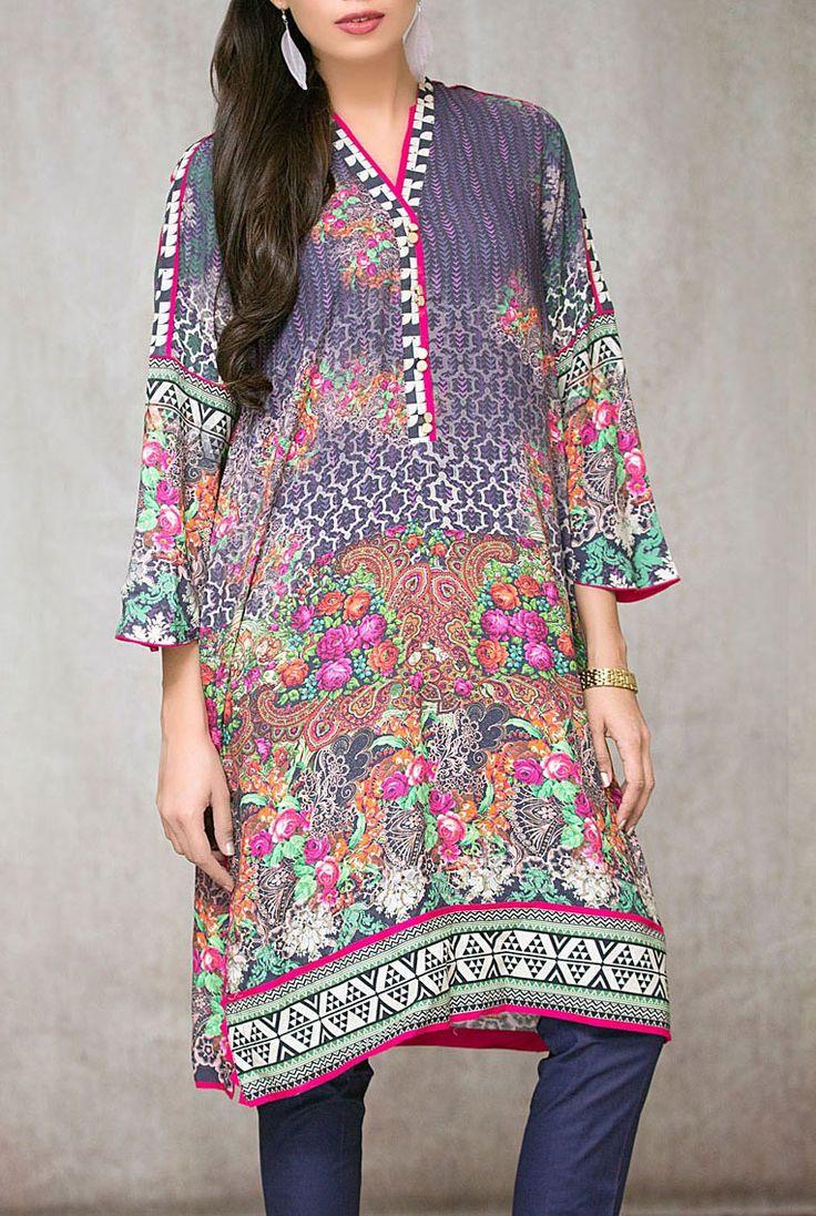 Buy Blueberry Digital Printed Linen Salwar Kameez (2pc) by Mausummery 2015