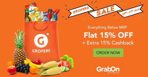 Extra Savings On Today's #Grocery Shopping. Get Flat 15% Off + Extra 15% Cashback @ #Grofers. http://www.grabon.in/coupon-codes/?cid=15084