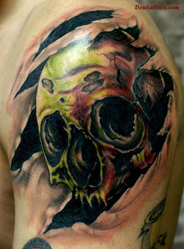 18 best torn ripped skin tattoo images on pinterest for Torn skin skull tattoo