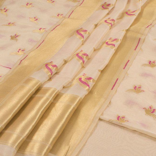 Buy online Handwoven Cream Banarasi Katrua Silk 3 Piece Salwar Suit Material With Bird Motifs & Meenakari Design 10013377