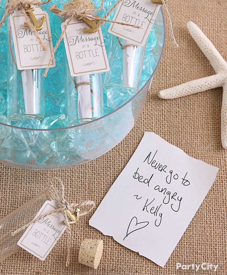 ideas for beach wedding party favors%0A Share sweet bridal shower sentiments with message in a bottle favors for  the bride to be