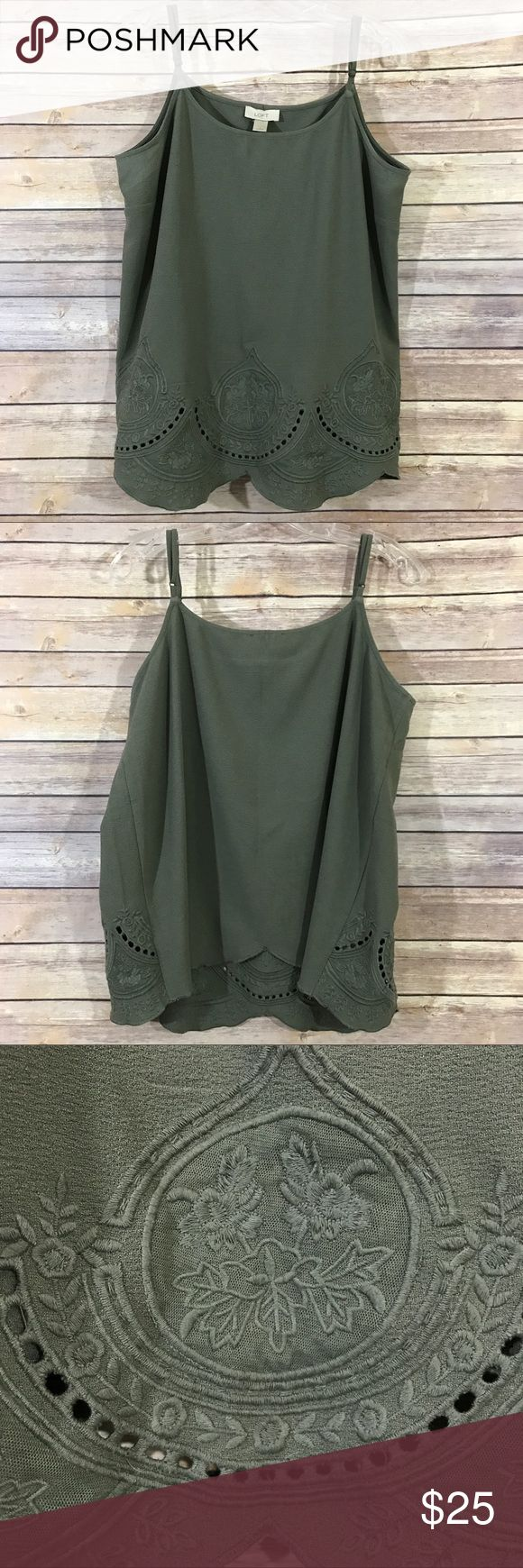 """Loft embroidered detail olive green cami tank, L This gorgeous Loft olive green cami tank is a perfect layering piece to wear with shorts now and later in fall under a sweater! It's a size Large and is in good preowned condition with no known flaws and light overall wear. It measures 22"""" flat across the bust and is 28"""" long. LOFT Tops Tank Tops"""
